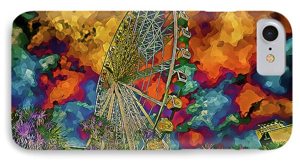 IPhone Case featuring the photograph Myrtle Beach Skywheel Abstract by Bill Barber