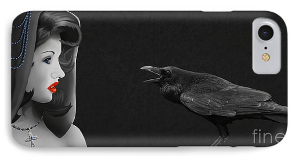 Mystic Woman With Raven Phone Case by Monika Juengling