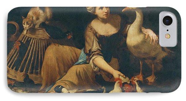 N Interior Scene With A Girl Feeding Cockerels IPhone Case