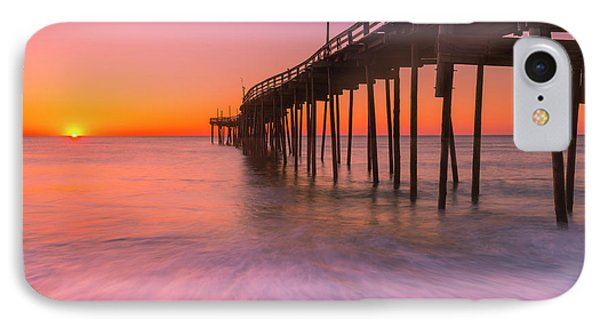 Nags Head Avon Fishing Pier At Sunrise IPhone Case by Ranjay Mitra