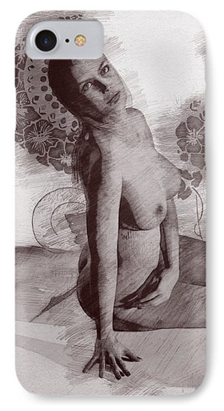 Naked Girl Among The Flowers IPhone Case by Joaquin Abella