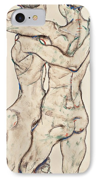Naked Girls Embracing IPhone Case by Egon Schiele