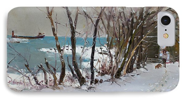 Naked Trees By The Lake Shore Phone Case by Ylli Haruni