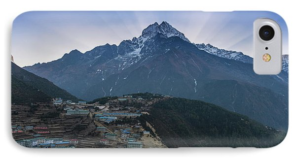 IPhone Case featuring the photograph Namche And Thamserku Peak Morning Sunrays by Mike Reid