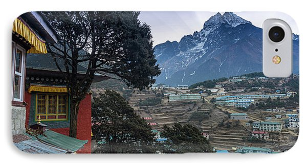 IPhone Case featuring the photograph Namche Monastery Morning Sunrays by Mike Reid