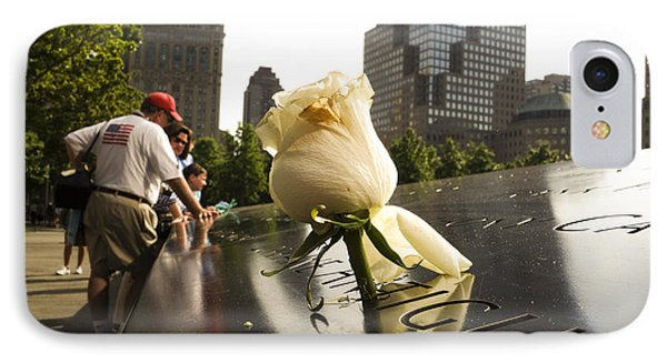 Names Engraved In Bronze Plates With Rose At National September 11 Memorial IPhone Case