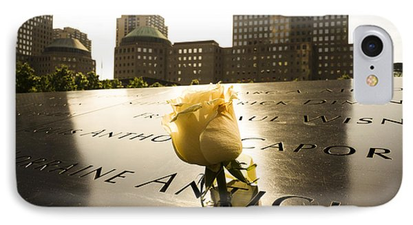 Names Engraved In Bronze Plates With Rose At National September Memorial IPhone Case