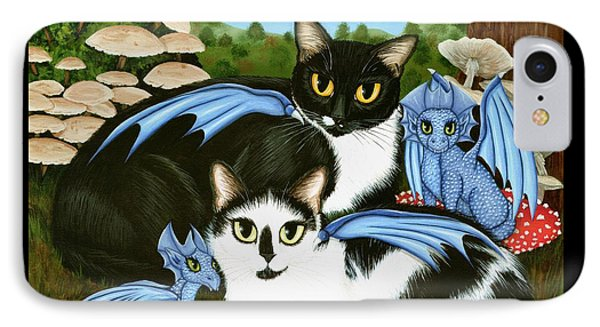 IPhone Case featuring the painting Nami And Rookia's Dragons - Tuxedo Cats by Carrie Hawks