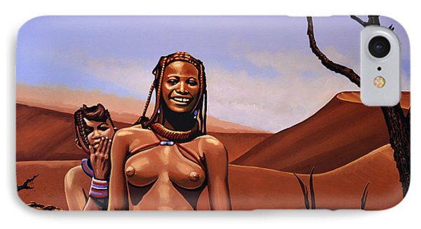 Himba Girls Of Namibia IPhone Case by Paul Meijering