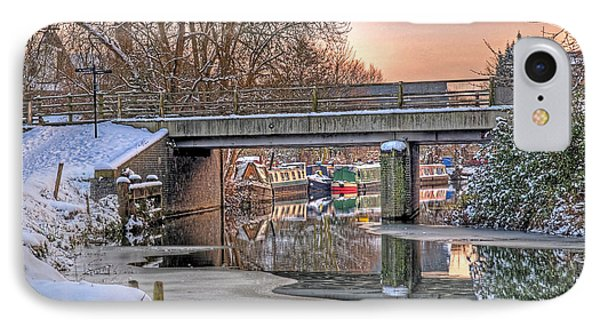 Narrow Boats Under The Bridge IPhone Case by Gill Billington