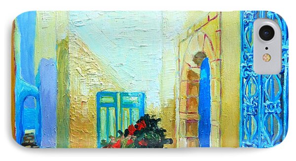 IPhone Case featuring the painting Narrow Street In Hammamet by Ana Maria Edulescu