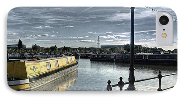 Narrowboat Idly Dan At Barton Marina On IPhone Case