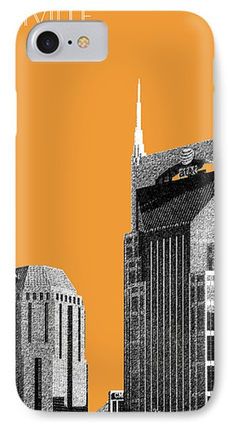 Nashville Skyline At And T Batman Building - Orange IPhone Case by DB Artist