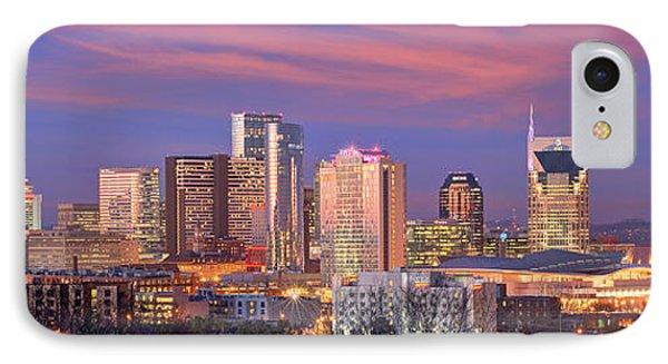 Nashville Skyline iPhone 7 Case - Nashville Skyline At Dusk 2018 Panorama Color by Jon Holiday