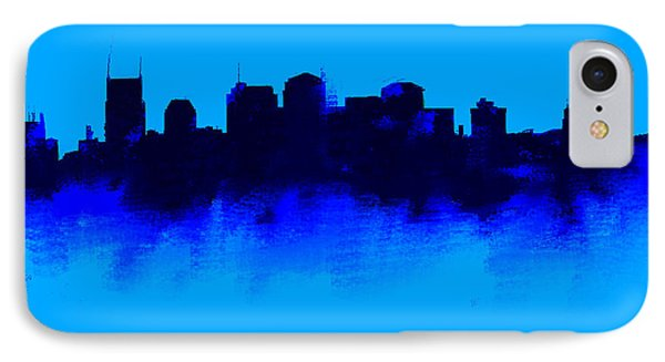 Ben Affleck iPhone 7 Case - Nashville  Skyline Blue  by Enki Art