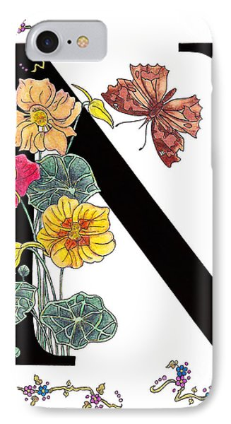 Nasturtium And Nettle-tree Butterfly IPhone Case by Stanza Widen