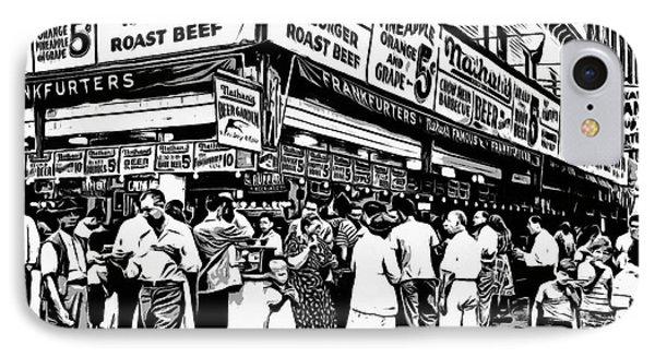 Nathans Famous Frankfurter Coney Island Ny IPhone Case by Edward Fielding