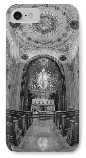 National Shrine Of The Immaculate Conception Chapel Bw IPhone Case