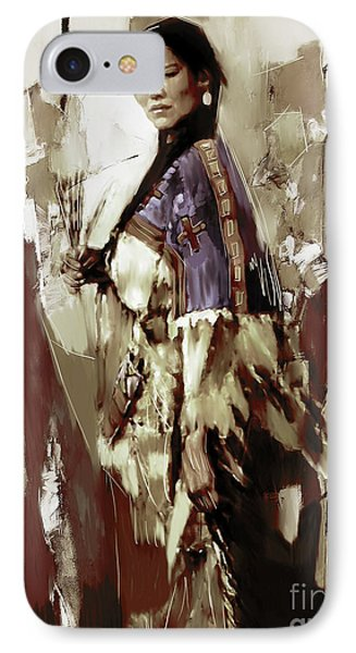 Native America Woman 33 IPhone Case by Gull G