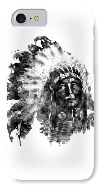 IPhone Case featuring the mixed media Native American Chief Black And White by Marian Voicu