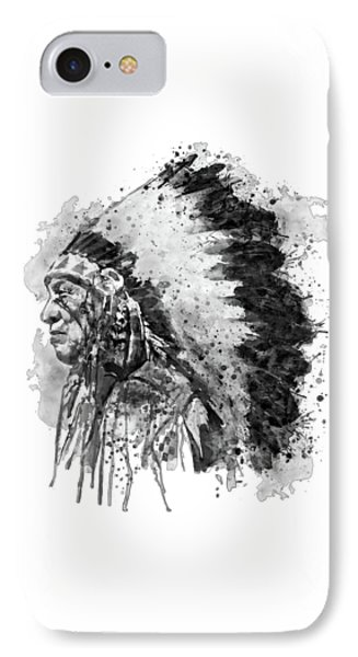 IPhone Case featuring the mixed media Native American Chief Side Face Black And White by Marian Voicu