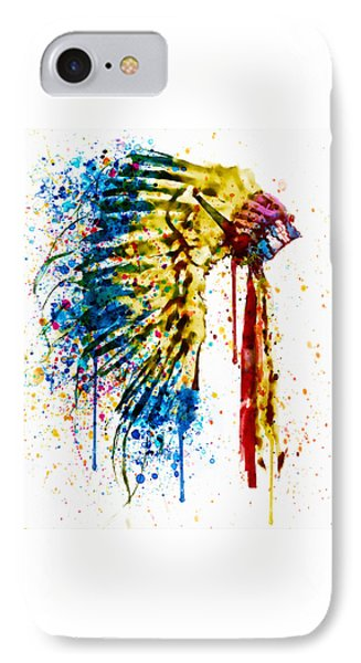 Native American Feather Headdress   IPhone Case by Marian Voicu