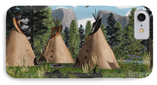 Native American Mountain Tepees IPhone Case by Walter Colvin