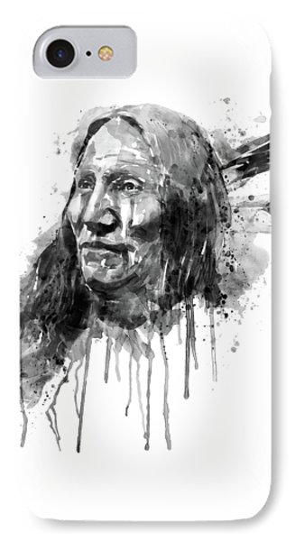 IPhone Case featuring the mixed media Native American Portrait Black And White by Marian Voicu