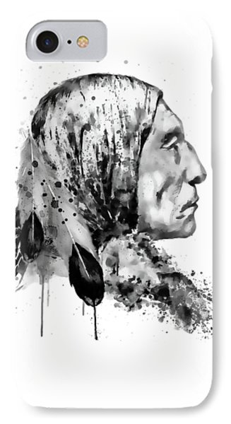 Native American Side Face Black And White IPhone Case