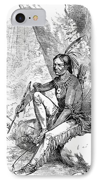 Native American With Pipe Phone Case by Granger