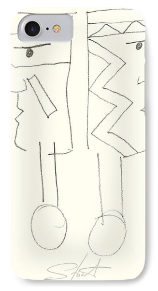 Native Americans Drawing Phone Case by Charles Stuart