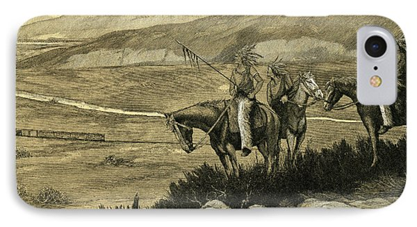 Native Americans Watching A Locomotive Traverse The American West IPhone Case by American School