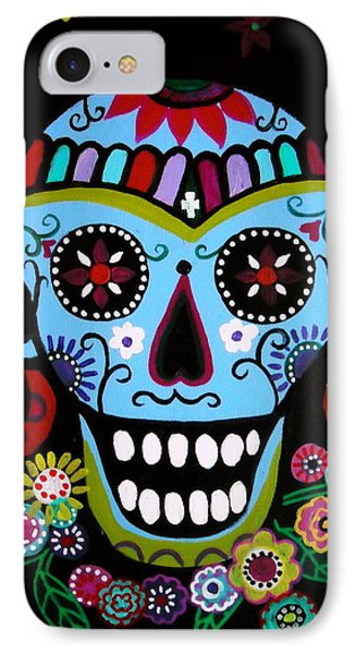 IPhone Case featuring the painting Native Dia De Los Muertos Skull by Pristine Cartera Turkus