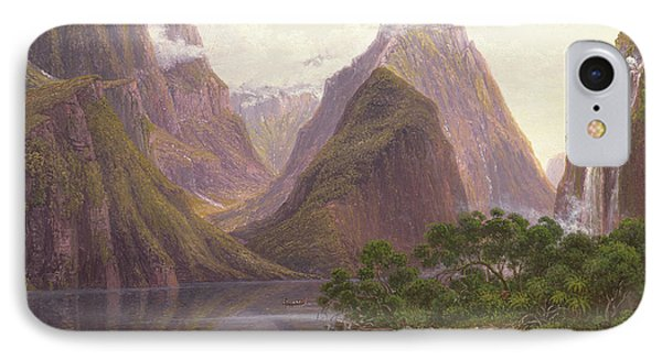 Native Figures In A Canoe At Milford Sound IPhone Case by Eugen von Guerard