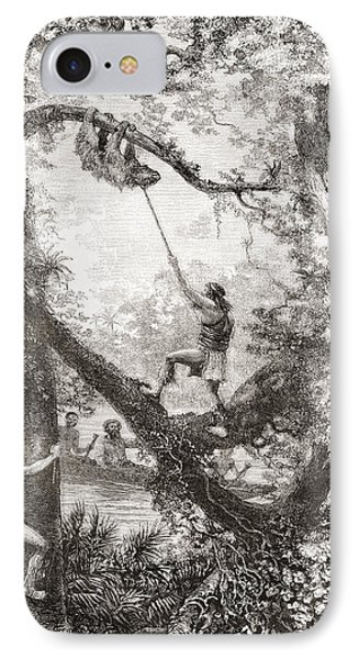 Native Indians Capturing A Tree Sloth IPhone Case