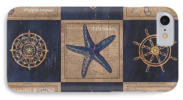 Seahorse iPhone 7 Case - Nautical Burlap by Debbie DeWitt