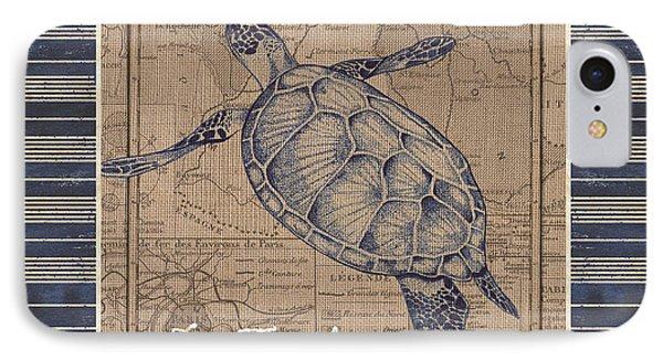 Nautical Stripes Sea Turtle IPhone 7 Case by Debbie DeWitt