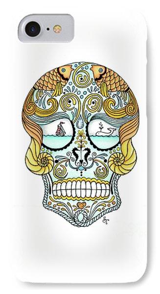 Nautical Sugar Skull IPhone Case by Stephanie Troxell