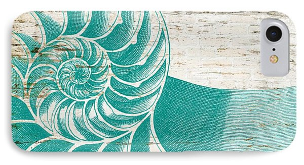 Nautilus Shell Distressed Wood IPhone Case by Brandi Fitzgerald
