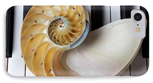 Nautilus Shell On Piano Keys Phone Case by Garry Gay