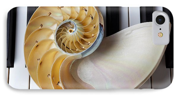 Nautilus Shell On Piano Keys IPhone Case by Garry Gay