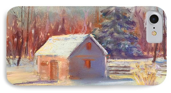 IPhone Case featuring the pastel Nauvoo Winter Scene by Rebecca Matthews