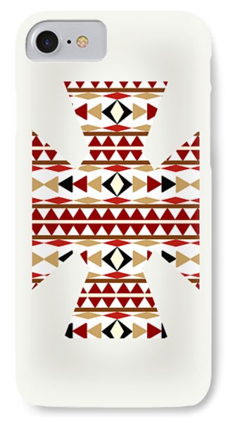 Navajo White Pattern Art IPhone Case by Christina Rollo