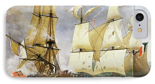 Naval Combat Between French Corvette La Bayonnaise And British Frigate L'embuscade IPhone Case by Jean-Francois Hue