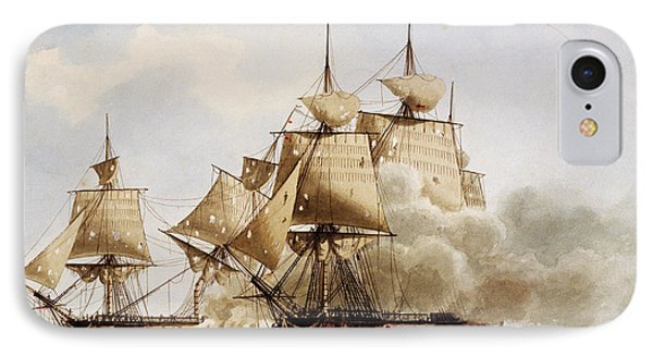 Naval Combat Between French Frigate Amazone And The Santa Margherita IPhone Case by Frederic Roux