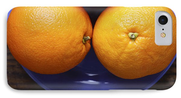 Naval Oranges On Blue Plate IPhone Case by Donald Erickson