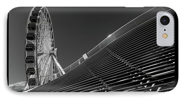 Navy Pier Wheel Chicago B W IPhone Case by Steve Gadomski