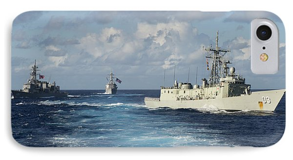 Navy Ships Break Formation IPhone Case by Celestial Images