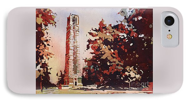 IPhone Case featuring the painting Ncsu Bell-tower II by Ryan Fox