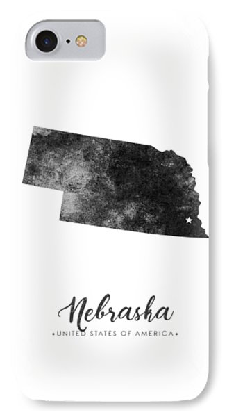 Nebraska State Map Art - Grunge Silhouette IPhone Case